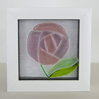 Framed Art Nouveau Single Rose Fused Glass Picture
