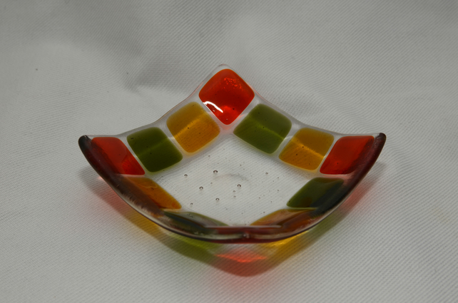 fused glass square trinket dish