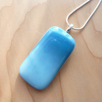 Blue rectangle fused glass necklace