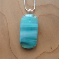 Pale blue fused glass pendant