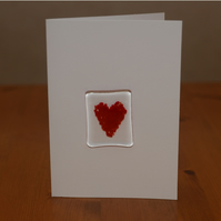 Red heart glass keepsake Valentine's card