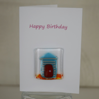 Fused Glass Beach Hut Birthday Card
