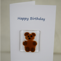 Fused Glass Bear  Birthday Card