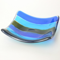 Blue and Green Stripe Fused Glass Trinket Dish