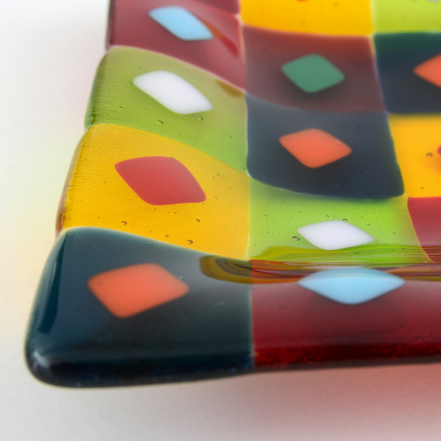 Colourful Glass Dish with Pattern of Squares