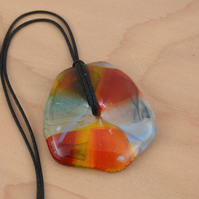 Orange and Blue Glass Pendant