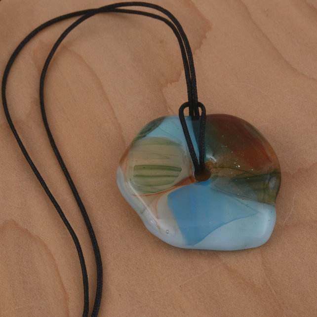 Blue, Green and Orange Glass Necklace