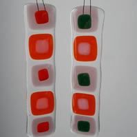 Set of 2 pink and orange glass suncatcher decorations