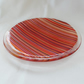 Stripes in shades of red glass plate, 20cm round decorative dish