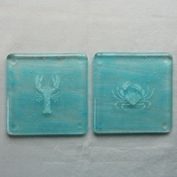 Crab and lobster, with bubbles, fused glass coasters. Set of two