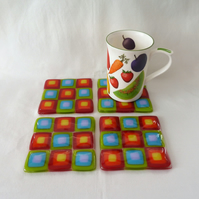 Rainbow retro square glass coasters in a set of four