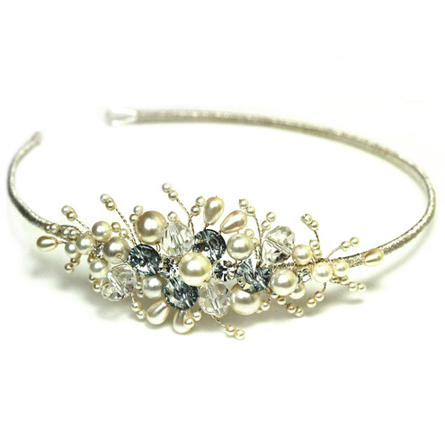 Maia, Silver, Crystal & Pearl Vintage Inspired Side Tiara