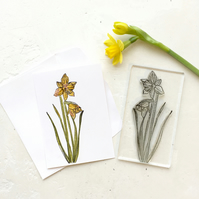 Daffodil Clear Rubber Stamp Large  - Daffodil Stamp - Miniature Daffodil