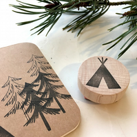 Tipi Rubber Stamp - Teepee - Tipi - Hand Carved Rubber Stamp
