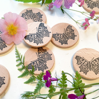 Butterfly Wooden Rubber Stamp - Butterfly Stamp - Polygonia C-Album Stamp