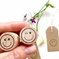 Happy Face And Wink Face Emojis Clear Rubber Stamps - Emoji - Smiley - Wink