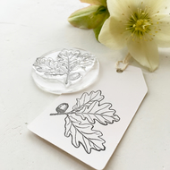 Oak Acorn Rubber Stamp - Rubber Stamp - Oak Leaf - Acorn - Little Stamp Store