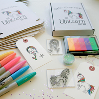Unicorn Gift Box - Unicorn Stamp Set - Mermaid Stamp Set - Rainbow Unicorn