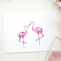Flamingo Rubber Stamp - Flamingo Clear Stamp - Pair of Flamingos