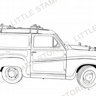 Car Rubber Stamp - Austin A35 Countryman Van Rubber Stamp - Vintage Car Stamp