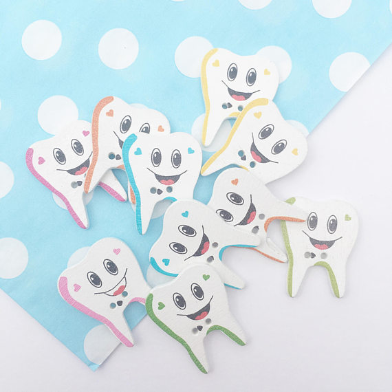 Tooth Wooden Buttons