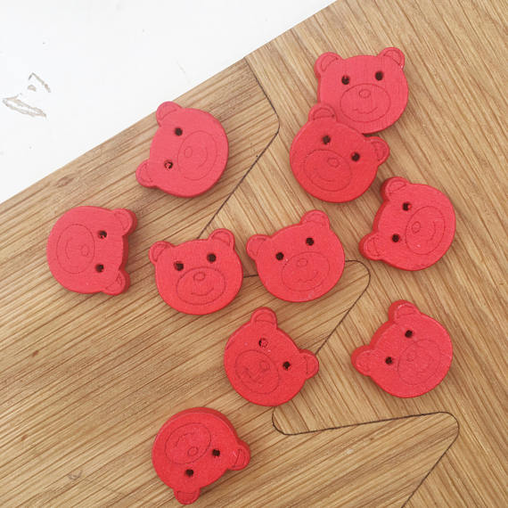 Red Teddy Bear Wooden Buttons