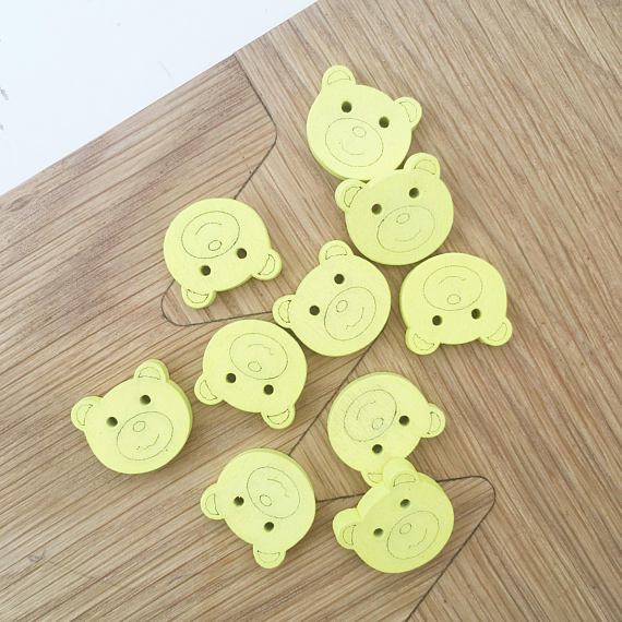 Yellow Teddy Bear Wooden Buttons