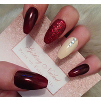 Hand painted shimmer red and nude full false nails