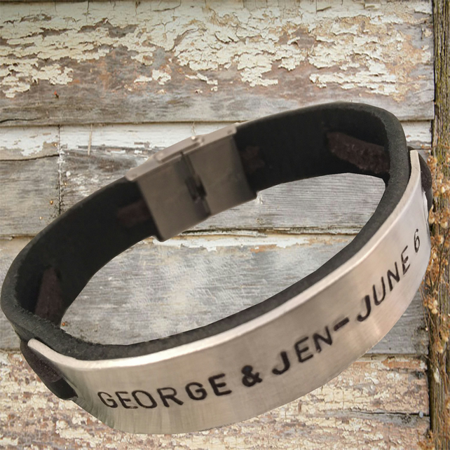 Personalised leather bracelet, engraved jewellery, coordinate bracelet