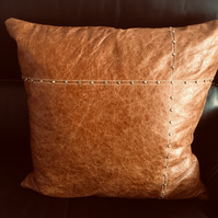Vintage - distressed leather cushion cover