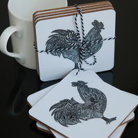 Set of Four Black and White Rooster Coasters