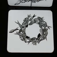 Black and White Shoal of Fish Coaster