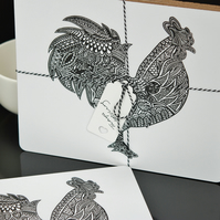 Set of 4 Rooster Place mats