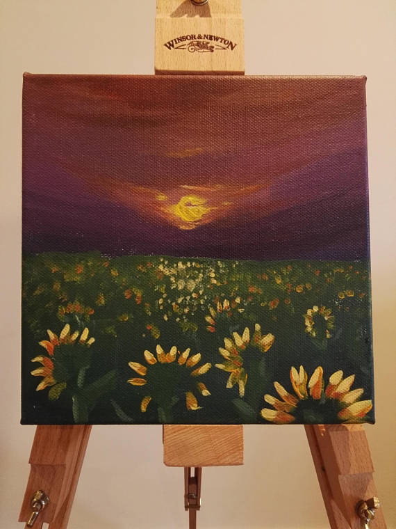 Sunflowers watching the Sunset Painting Acrylic on Canvas Unique Bright Small
