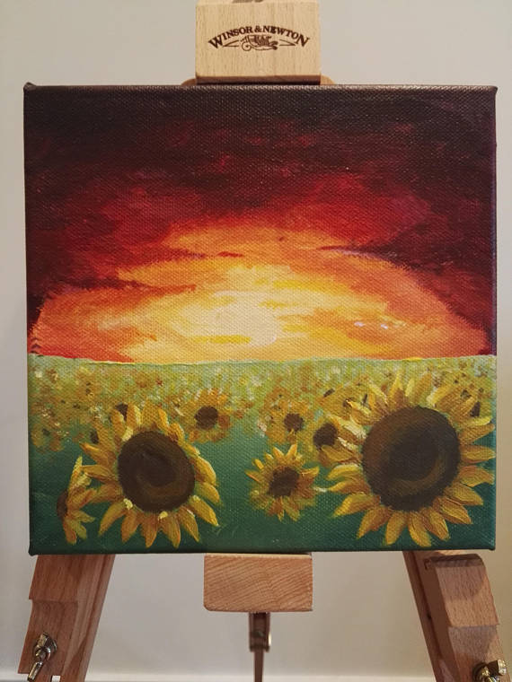 Sunflowers at Sunset acrylic bright unique small painting art