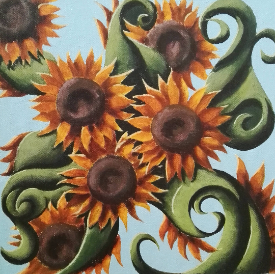 Sunflower Abstract Fluid Bright Unique Acrylic Painting