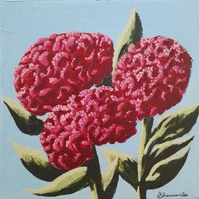 Celosia Flowers original framed painting acrylic canvas pink