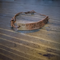Handmade Personalized Copper & Leather Bracelet, Coordinates, Valentines Day