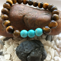Tigers Eye and Green Turquoise Stretchable Stone Bead Bracelet Unisex