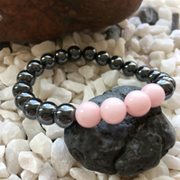 Cool Hematite with Pink Mashan Jade Stone Bead Stretch Bracelet.