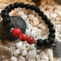 Lava Rock and Red Regalite. Essential Oils Diffuser Fashion Bead Bracelet.