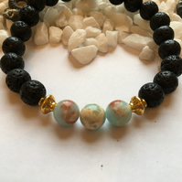Lava Rock and Baby Blue Regalite. Essential Oils Diffuser Fashion Bead Bracelet.