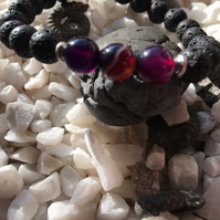 Lava Rock and Purple Onyx Aromatherapy Essential Oils Diffuser Bead Bracelet.