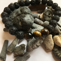 Lava Rock Stone and Tigers Eye Fashion Bracelet. Essential Oils Diffuser