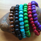 Wooden Bead Bracelets, set of 3. Coloured wooden stretch fit fashion beads