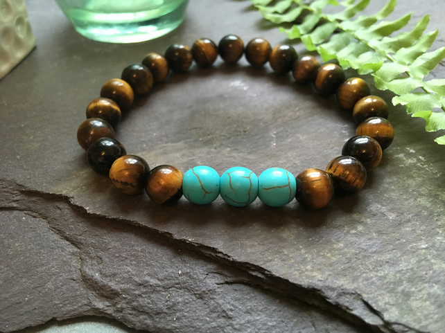 Tigers Eye and Green Turquoise Stretchable Stone Bead Bracelet Unisex Holistic