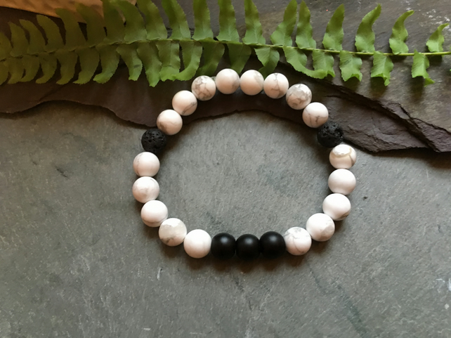 White Howlite with 2 Lava Stone and 3 Black Onyx Stretch Stone Bead Bracelet