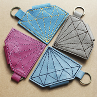 Leather Handmade Diamond shape Headphone case Keyring