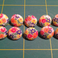 Ten Floral Buttons - with shank, floral, button