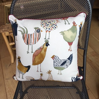 Square cushion in chicken print